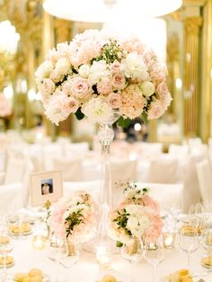 hydrangea centerpieces - photo by Facibeni Fotografia http://ruffledblog.com/glamorous-black-tie-wedding-in-florence