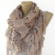 2014 New design scarf ,shawl ,crocheted women neckwarmer , taupe ,cowl neck ,holiday fashion accessories ,gift ideas , soft color on Etsy, $35.00