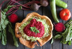 Raw Beet Marinara Sauce with Zucchini Noodles - #scd with some tweaks