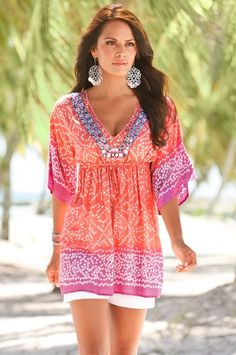 Like the cut of this top! Not in love with colors.  Collections - Boston Proper- summer wear