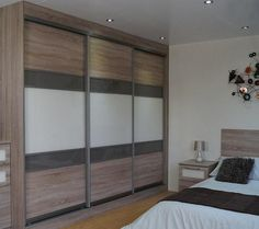 Beautiful Bardolino Oak with Cappuccino & Pearl White Glass 3 Door Sliding Wardrobe. Satin Silver Aluminium Frame. Available in a choice of colour options. (see website for details).