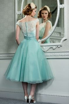 Tea length retro bridesmaid dress with delicate lace bodice | duck egg blue wedding | www.endorajewellery.etsy.com