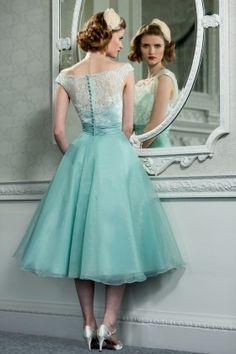 Tea length retro bridesmaid dress with delicate lace bodice   duck egg blue wedding   www.endorajewellery.etsy.com