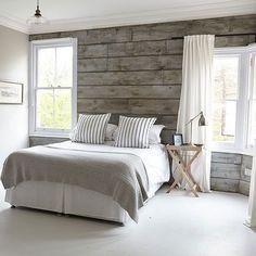 DIY plank wall in a coastal bedroom using MDF sheet
