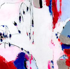 Red Blue White Original Abstract #art 12x12 by DUEALBERI