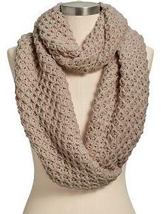 Womens Honeycomb-Stitch Infinity Scarves