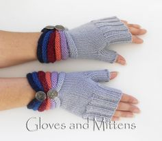 Gloves – Fingerless Knitted Hand Warmers, Striped gloves. – a unique product by GlovesAndMittens on DaWanda