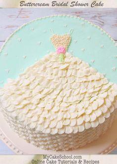 Beautifully Simple Buttercream Wedding Dress Cake Design- Free Tutorial by MyCakeSchool.com!