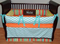 Weston Baby Bedding  Included in this luxurious 3 piece set is the bumper, so soft orange minky sheet, and tailored crib skirt with trim.  There is lots of detail in this custom set including ultra soft chocolate and lime minky, aqua and white chevron, aqua grosgrain ties, chocolate trim, orange piping, and designer stripe fabric.