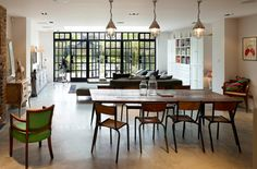 House Ealing - traditional - Dining Room - London - Stiff and Trevillion Cool Cafe, Industrial Windows And Doors, Steel Frame Doors, Steel Windows, Loft, Victorian Homes, Modern Victorian, Open Plan, Decoration