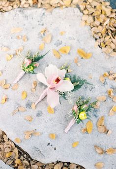 Orchid bout, smaller bouts of pink roses // Stephanie Hunter Photography