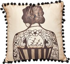 New Sourpuss Painted Lady Satin Pillow with Pom Pom Trim - Available thru www.DeadRockers.net