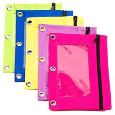 3 Ring Binder Zippered Pencil Pouches (Pack of 5) Clear Window, Eco Friendly, Bright Green, Yellow, Blue, Pink, Purple, Perfect for Classroom, Travel, Office, School, Arts and Craft Organization
