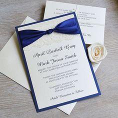 THE KNOT - Navy and Ivory Lace Wedding Invitation - Classic Lace Wedding Invitation - Ivory Lace with Navy Satin Ribbon