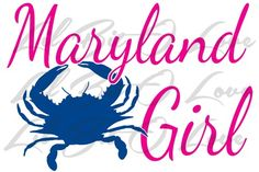 Maryland Girl Vinyl Decal with Crab 2 color truck auto RV window | LilBitOLove - Housewares on ArtFire
