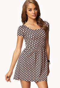white and black casual polka dot dress