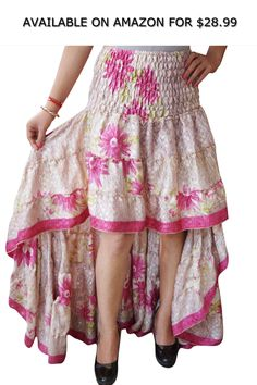 0b7b54279f Womens Silk Sari Skirt Pink Recycled Tiered Ruffle Flare Skirts S/M ◇  AVAILABLE ON