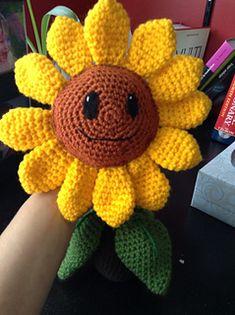 Zombies Sunflower pattern by Julianne Winter Awareness Ribbons, Cancer Awareness, Christmas Afghan, Plants Vs Zombies, Sunflower Pattern, Ravelry, Etsy Store, Crochet Patterns, Crochet Hats