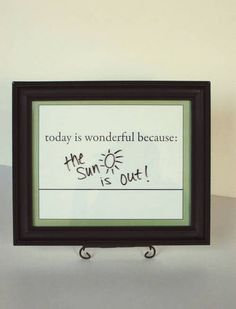 all I really need is the dry erase marker - I'm sure I have an old frame to re-purpose!