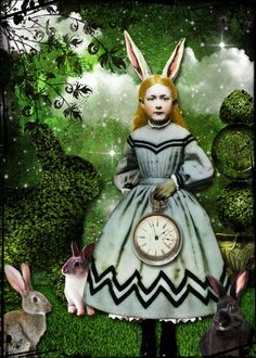 Alice and the Garden of Rabbits digital collage by glitterbug at Deviant Scrap  Beautiful Digital Collage! She is one of my favorite PaperWhimsy Girls! Love her as Alice with Blonde Hair!!