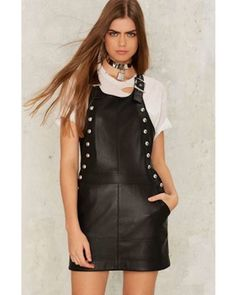Overall and done with it. The Overall of It Dress comes in black vegan leather and features a mini dress silhouette, overall shoulder straps with silver buckle closure, front silver studded snap button closure at sides, front pockets, and full lining.   eBay!