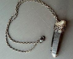 Large rough black quartz point pendant by ElementalLuxury on Etsy