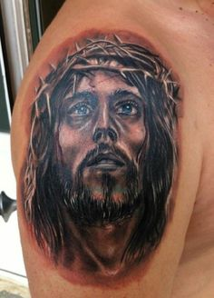 Jesus Tattoo Upper Arm   #Tattoo, #Tattooed, #Tattoos