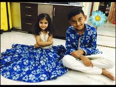 Diwali Is Here - Start Planning Some Cute Combo For Siblings - Baby Couture India Twin Outfits, Matching Outfits, Kids Outfits, Little Girl Dresses, Girls Dresses, Diwali Outfits, Kids Ethnic Wear, Kids Dress Wear, Kids Dress Patterns