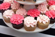 Pink floral cupcakes