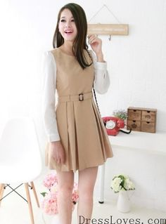 Beige Belted Round Neck Long Sleeve Pleated Cotton Polyester Dress S/M/L/XL@A4031