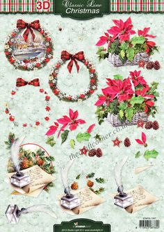Christmas Flowers Wreath 3D Decoupage Sheet Card Making Paper Crafts CUTTING REQ • EUR 1,16 - PicClick FR