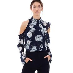 >> Click to Buy << OtherLinks Summer Floral Print Women Blouse Female Stand Collar Long Sleeve Shirt Casual Cold Shoulder Chiffon Bohemian Blouse #Affiliate