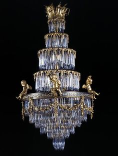 Baccarat ,A Rare Crystal and Gilt-Bronze Waterfall Chandelier
