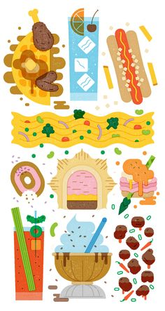 Illustration for the newspaper about foods invented by New York City. Art Direction by Alexandra Citrin