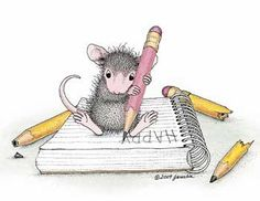 "Little mouse writing Happy Birthday ""Monica"" from House-Mouse Designs® House Mouse Stamps, Mouse Illustration, Mouse Pictures, Mouse Color, Cute Mouse, Prim Christmas, Penny Black, Digi Stamps, Copics"