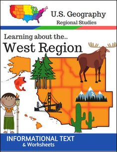 This Regions of the U.S. Geography resource is centered on the West Region and contains textbook style informational text and related student worksheets with answer keys. Students will enjoy learning about this region studying the categories of Land and Water, Climate, Products and Natural Resources, Landmarks, Culture and Food.