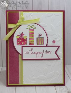 I used the Stampin' Up! Happiest of Days stamp set to create my card for the Happy Inkin' Thursday Blog Hop today.  We've got a color challenge this week and this is what I created for it.