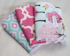 Set of 3 Blue and Pink Trees Burp Cloth Set with a Light Pink Rosebud Minky Back on Etsy, $27.00