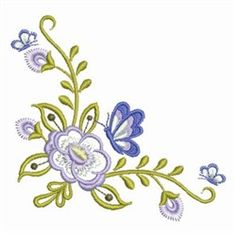 Sweet Heirloom Embroidery Design: Butterfly Floral 3.67 inches H x 3.84 inches W