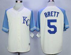 Men's Kansas City Royals #5 George Brett Cream New Cool Base Jersey