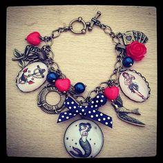 Handmade Sailor Jerry Tattoo charm bracelet. Red by VeeAccessories, £15.00