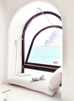 steelmagnoliasandsweettea:    sunsurfer:  Reading Nook, Santorini, Greece photo via sarahklaussen