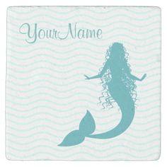 Shop Monogram Nautical Mermaid Stone Coaster created by idesigncafe. Arizona, Cute Mermaid, Mermaid Silhouette, Tropical Style, Stone Coasters, Custom Coasters, Travertine, Nautical Theme, Drink Coasters
