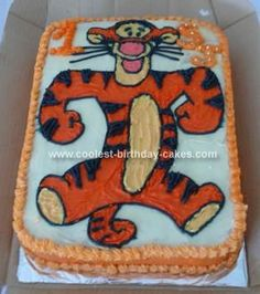 Homemade Tigger Birthday Cake: This Tigger Birthday Cake I baked for a boy who turned one years old and loves Tigger.  I baked a white sponge base, transferred the picture onto the cake