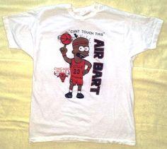 VINTAGE '90's Black Bart Simpson Air Bart Jordan Chicago Bulls Bootlet Shirt XL #FruitoftheLoom