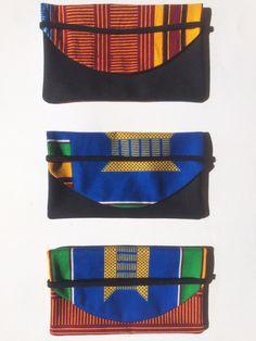 Etui pour carnet ou Blague à tabac tissu kente à motif africain bleu vert jaune…