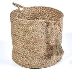 LR Home Montego Solid Natural Jute Decorative Storage Basket in.) - x x (Brown - Baskets/Storage - Jute/Natural Fiber) Rattan Basket, Wicker, Toy Basket, Basket Planters, Jute, Smith And Noble, Brown Home Decor, Farmhouse Style Kitchen, Modern Farmhouse