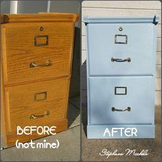 $5 thrift store Oak File Cabinet makeover #oak #filecabinet #furnituremakeover #diy