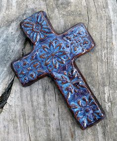 Denim Blue Large Cross - gift idea for P Hand Built Pottery, Slab Pottery, Ceramic Pottery, Pottery Art, Ceramic Art, Clay Cross, Pottery Handbuilding, Native American Pottery, Pottery Tools