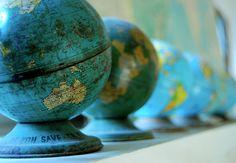 Globes + money boxes